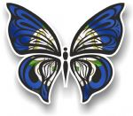 Ornate Butterfly Wings Design With York Yorkshire Rose County Flag Motif Vinyl Car Sticker 100x85mm